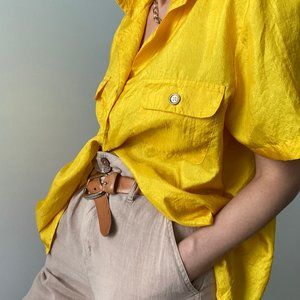 Vintage Tops - Vintage Canary Pocket Blouse Button Up